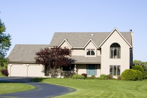 Modern two story executive home with a two car garage. Milwaukee Wisconsin suburbs.